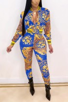 Sexy Fashion Leopard Printing Blue Long Sleeve Suit