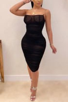 Sexy Perspective Mesh Black Sling dress