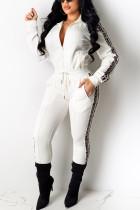 Fashion Solid Color Stripe White Two Piece Suit