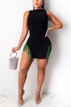 Fashion Sexy Green Tassel Dress