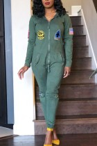 Fashion Printing Army Green Long Sleeve Jumpsuit