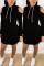 Casual Off Shoulder Black Long Sleeve Dress