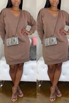 Fashion Casual Loose Coffee Sweater Dress