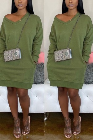 Fashion Casual Loose Olive Green Sweater Dress