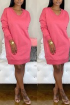 Fashion Casual Loose Rose Red Sweater Dress