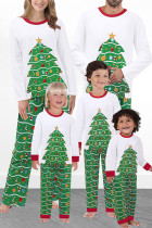 Parent-Child Wear Christmas Tree Print Mom White Two Piece Suit