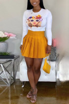 Sexy Casual T-Shirt And Pleated Skirt Yellow Two Piece Suit