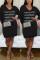 Fashion Letter Embroidered Black V-neck Dress