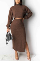 Sexy Round Neck Long Sleeve Coffee Two Piece Suit