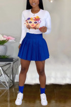 Sexy Casual T-Shirt And Pleated Skirt Blue Two Piece Suit