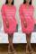 Fashion Letter Embroidered Rose Red V-neck Dress