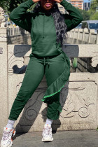 Casual Irregular Pants Hooded Dark Green Two Piece Suit