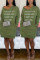 Fashion Letter Embroidered Army Green V-neck Dress