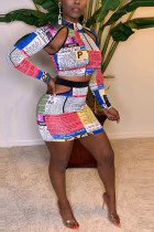 Fashion Sexy Newspaper Print Multicolor Long Sleeve Two-Piece Suit