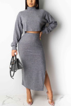 Sexy Round Neck Long Sleeve Gray Two Piece Suit