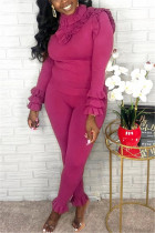 Fashion Casual Solid Color Rose Red Long Sleeve Two-Piece Suit
