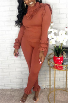 Fashion Casual Solid Color Brown Long Sleeve Two-Piece Suit