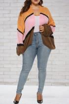 Fashion Loose Contrast Color Patchwork Cardigan Orange And Pink Coat