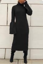 Fashion Warm Turtleneck Trumpet Sleeves Black Dress