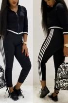 Fashion Long Sleeve Zip Top Trousers Black Suit