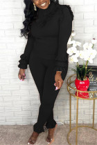 Fashion Casual Solid Color Black Long Sleeve Two-Piece Suit