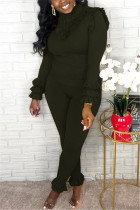 Fashion Casual Solid Color Green Long Sleeve Two-Piece Suit