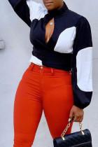Fashion Stitching Black Long Sleeve Chiffon Shirt