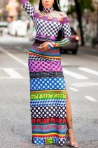 Sexy Cute Long Sleeve Turtleneck Multicolor Print Dress