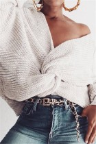 Fashion Halter V-Neck Knotted White Sweater