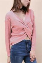 Fashion Halter V-Neck Knotted Pink Sweater