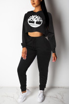 Casual Sports Crop Loose Sweater Black Print Two Piece Suit
