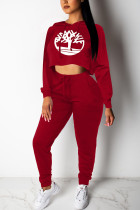 Casual Sports Crop Loose Sweater Wine Red Print Two Piece Suit