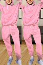 Fashion Casual Long Sleeve Hooded Pink Sports Suit
