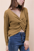 Fashion Halter V-Neck Knotted Valley Yellow Sweater