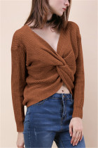 Fashion Halter V-Neck Knotted Coffee Sweater