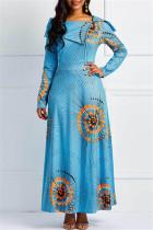 Fashion Casual Print Light Blue Long Sleeve Dress