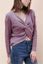 Fashion Halter V-Neck Knotted Light Purple Sweater