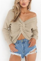 Fashion Halter V-Neck Knotted Apricot Sweater