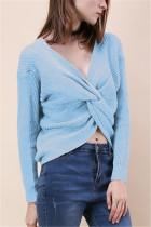 Fashion Halter V-Neck Knotted Light Blue Sweater