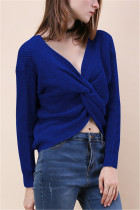 Fashion Halter V-Neck Knotted Blue Sweater