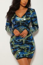 Sexy V-neck Camouflage Blue Sequin Dress