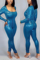 Fashion Tight trousers Onesies Blue Two-piece Set