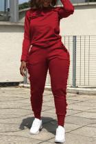 Street Sports Long Sleeve Wooden Ear Side Red Two-Piece Suit