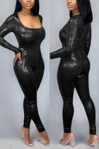 Fashion Tight trousers Onesies Black Two-piece Set