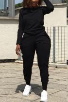 Street Sports Long Sleeve Wooden Ear Side Black Two-Piece Suit