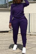 Street Sports Long Sleeve Wooden Ear Side Dark Blue Two-Piece Suit