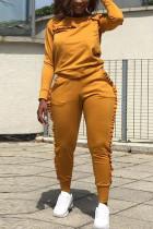 Street Sports Long Sleeve Wooden Ear Side Orange Two-Piece Suit