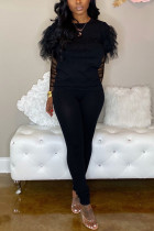 Casual Round Collar Net Sleeve Black Two Piece Suit