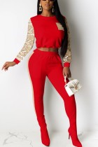 Fashion Long Sleeve Sequin Red Sports Suit