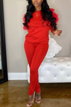 Casual Round Collar Net Sleeve Red Two Piece Suit
